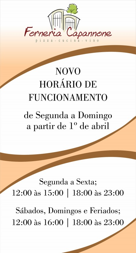 Banner Capannone Novo Horário Funcionamento